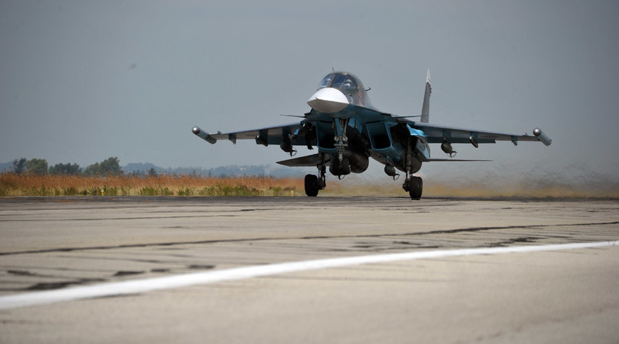 Russian Sukhoi Su-34 fighter bomber takes off from the Hemeimeem Air Base in the Latakia province, Syria. © Dmitriy Vinogradov