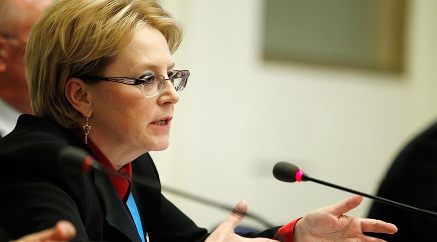 Russia's Health Minister Veronika Skvortsova addresses a news conference on vaccines against Ebola in Geneva, Switzerland, February 15, 2016 © Pierre Albouy