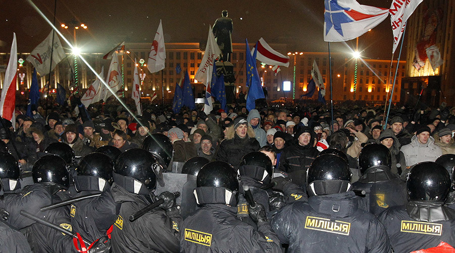 Riot police block opposition supporters during a rally denouncing the results of presidential elections near the Parliament building in central Minsk December 19, 2010. © Vasily Fedosenko