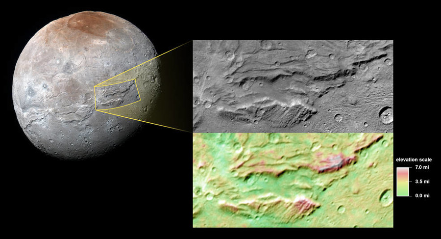 A close-up of the canyons on Charon, Pluto's big moon, taken by New Horizons during its close approach to the Pluto system last July © nasa.gov