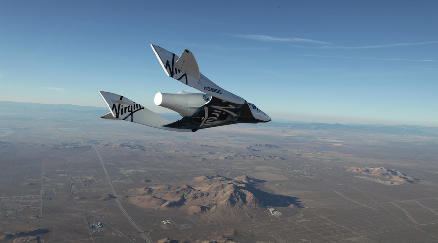 The first SpaceShipTwo during a glide flight over the Mojave desert. © Virgin Galactic