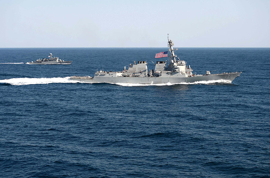 In this March 12, 2015 US Navy handout photo, the guided-missile detroyer USS Lassen (DDG 82) is underway in formation with the Republic of Korea patrol craft Sokcho (PCC 778) during exercise Foal Eagle 2015. ©US Navy