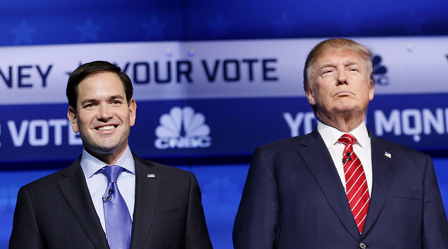 Candidates for the GOP presidential nomination, Senator Marco Rubio and Donald Trump. © Rick Wilking
