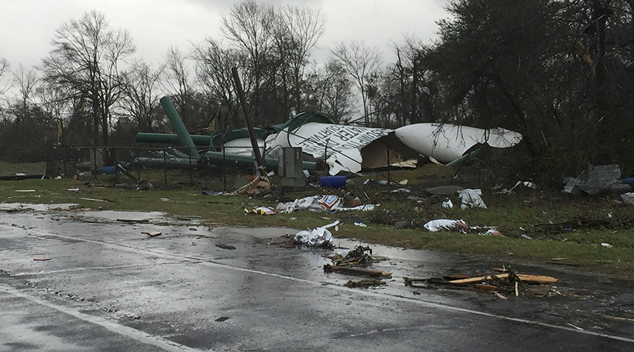 Debris from a damaged water tower is shown in this handout photo provided by Assumption Parish Sheriff's Office, west of New Orleans, Louisiana, February 23, 2016. © Assumption Parish