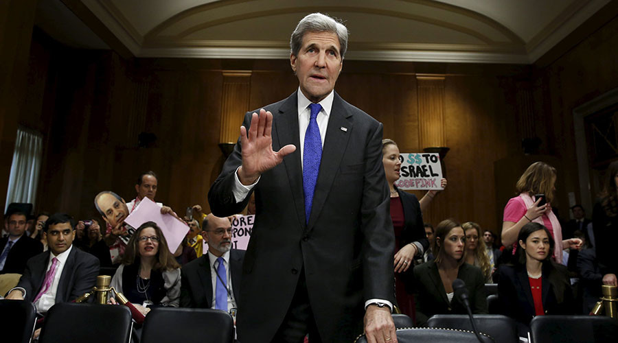 U.S. Secretary of State John Kerry waves as he arrives at a Senate Foreign Relations Committee hearing on the FY2017 State Department Budget Request on Capitol Hill in Washington, February 23, 2016. ©Yuri Gripas