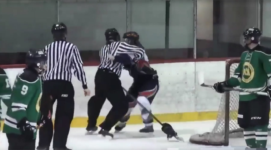 Ref justice: Hockey player mauled by linesman, handcuffed after spit (VIDEO)