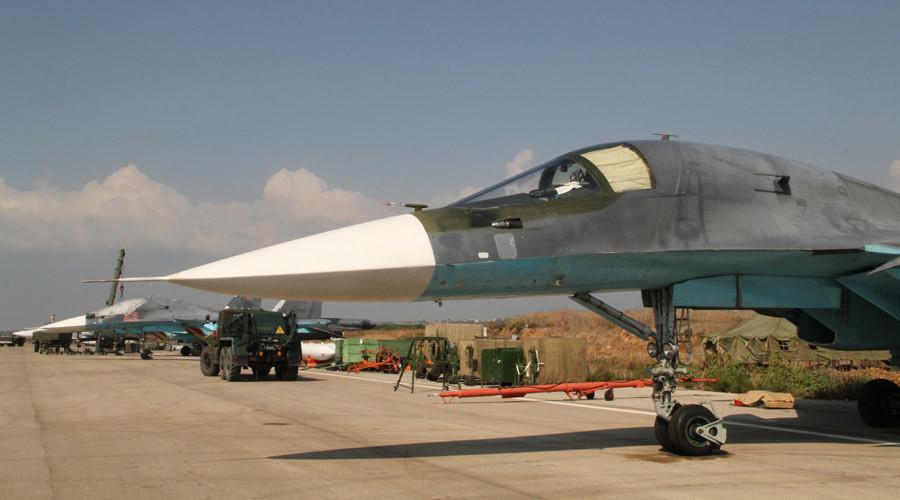 Russian Sukhoi Su-34 jets at the Hmeimim airfield in Syria. © Dmitriy Vinogradov