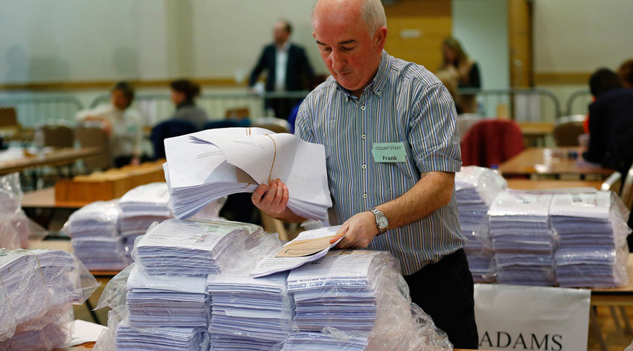 Ballot papers are sorted during the second day of the General Election count in Dundalk, Ireland February 28, 2016. © Darren Staples