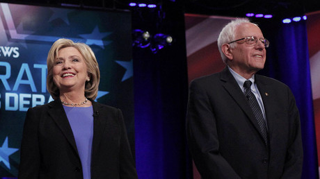 Democratic U.S. presidential candidates former Secretary of State Hillary Clinton and Senator Bernie Sanders. ©Randall Hill