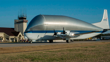 NASA's gigantic 'Super Guppy' cargo plane ships spacecraft destined for Mars