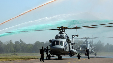 A water canon salute is given for two Mi-17 V5 Helicopters. © Prakash Singh