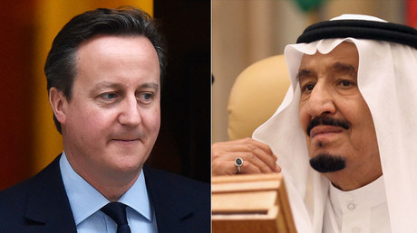 Britain's Prime Minister David Cameron and Saudi King Salman bin Abdulaziz. © Reuters