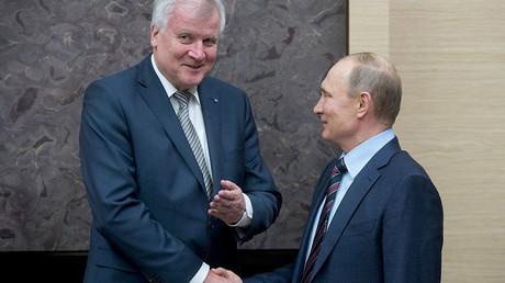 February 3, 2016. Russian President Vladimir Putin, right, during a meeting with Minister-President of Bavaria Horst Seehofer at Novo-Ogaryovo residence. ©Sergey Guneev