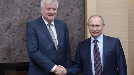 Russian President Vladimir Putin, right, during his meeting with Minister-President of Bavaria Horst Seehofer at Novo-Ogaryovo, February 3, 2016. © Aleksey Nikolskyi