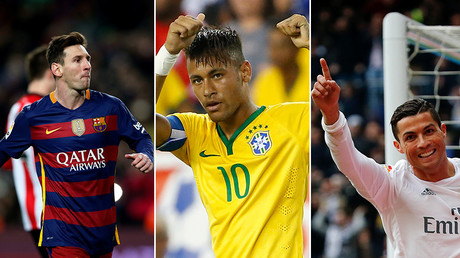 (L-R) Lionel Messi, Neymar Jr., Cristiano Ronaldo © Reuters