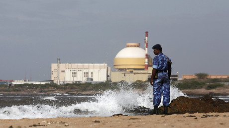 A Rapid Action Force (RAF) personnel stands guard on a beach near Kudankulam nuclear power project in the southern Indian state of Tamil Nadu. © Adnan Abidi