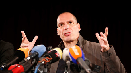 Greece's former Finance Minister Yanis Varoufakis addresses a news conference to introduce the so-called DiEM 25 (Democracy in Europe Movement 2025) at the Volksbuehne theatre in Berlin, Germany, February 9, 2016. © Fabrizio Bensch