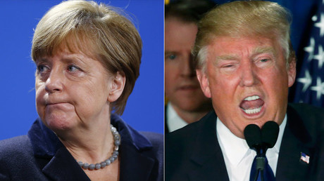 German Chancellor Angela Merkel and Republican U.S. presidential candidate Donald Trump. ©Jim Bourg