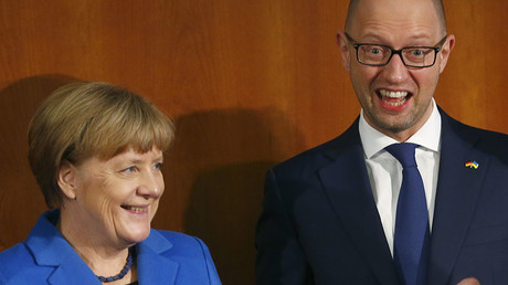 German Chancellor Angela Merkel and Ukraine Prime Minister Arseniy Yatsenyuk. © Hannibal Hanschke