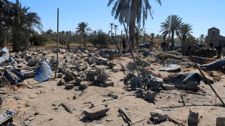 A view shows damage at the scene after an airstrike by U.S. warplanes against Islamic State in Sabratha, Libya, February 19, 2016. © Sabratha municipality media office