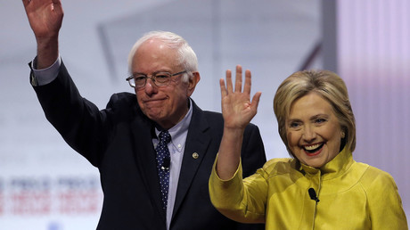 Democratic U.S. presidential candidates Senator Bernie Sanders and former Secretary of State Hillary Clinton. © Jim Young
