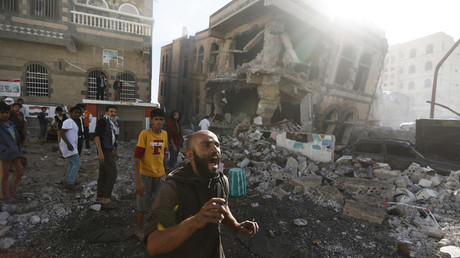 A man reacts at the site of a Saudi-led air strike in Yemen's capital Sanaa, February 10, 2016. © Khaled Abdullah