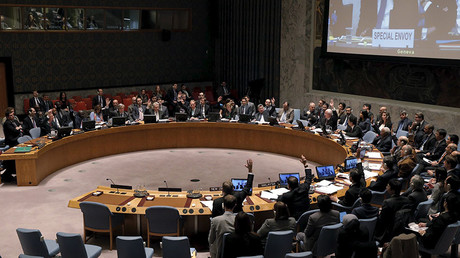 The United Nations Security Council votes to approve a resolution endorsing the planned halt in fighting in Syria at the United Nations Headquarters in New York February 26, 2016. ©Brendan McDermid