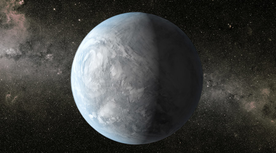 A NASA illustration of Kepler 62E, located about 1,200 light-years away from Earth, in the constellation Lyra. ©