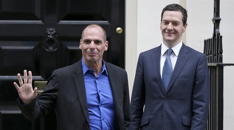 Former Greek Finance Minister Yanis Varoufakis and Britain's Chancellor of the Exchequer, George Osborne. ©Peter Nicholls