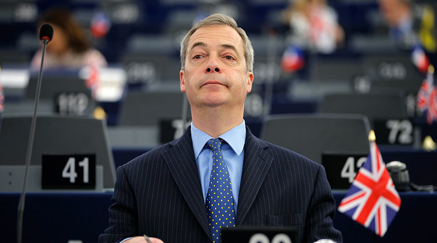 Nigel Farage, leader of the United Kingdom Independence Party (UKIP) and Member of the European Parliament, attends a debate on the outcome of last EU-Turkey summit at the European Parliament in Strasbourg, France, March 9, 2016. ©Vincent Kessler