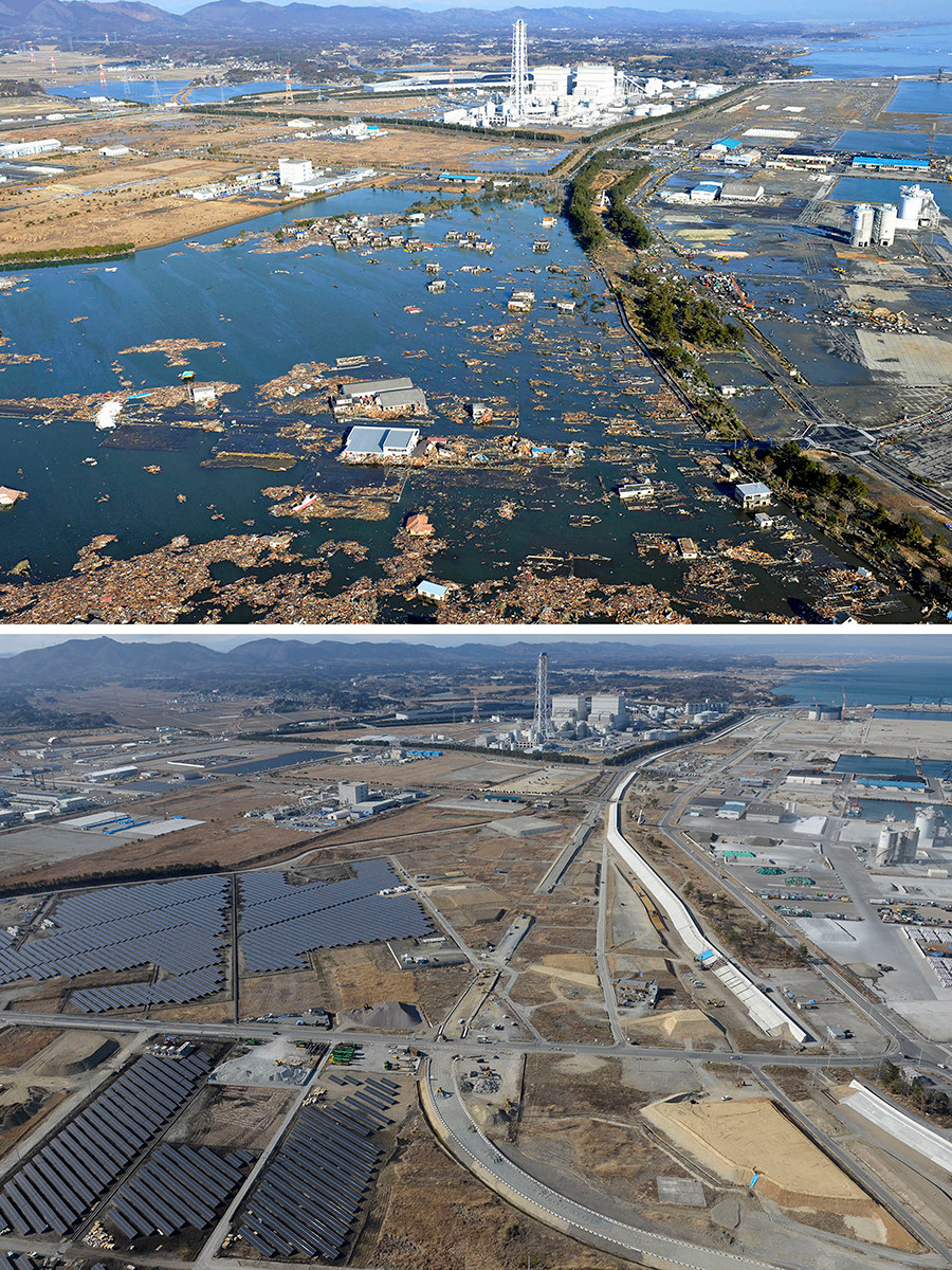 The tsunami-devastated Shinchi town in Fukushima prefecture is seen in these images taken March 12, 2011 (L) and March 2, 2016 (bottom), in this combination picture released by Kyodo on March 5, 2016, ahead of the five-year anniversary of the March 11, 2011 earthquake and tsunami disaster © Kyodo