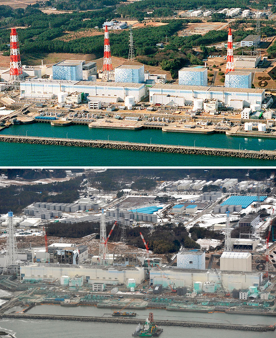 Tokyo Electric Power Co. (TEPCO)'s Fukushima Daiichi nuclear power plant is seen in Fukushima prefecture, in aerial shots taken in December 2000 (top) and February 26, 2012, in this combination picture released by Kyodo on March 7, 2012 © Kyodo