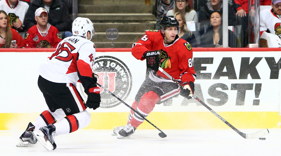 Chicago Blackhawks right wing Patrick Kane (88). © Jerry Lai
