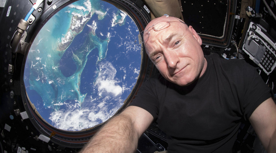 NASA astronaut Scott Kelly is seen inside the cupola of the International Space Station, a special module that provides a 360-degree viewing of the Earth and the station in this undated photo released on March 11, 2016. © NASA