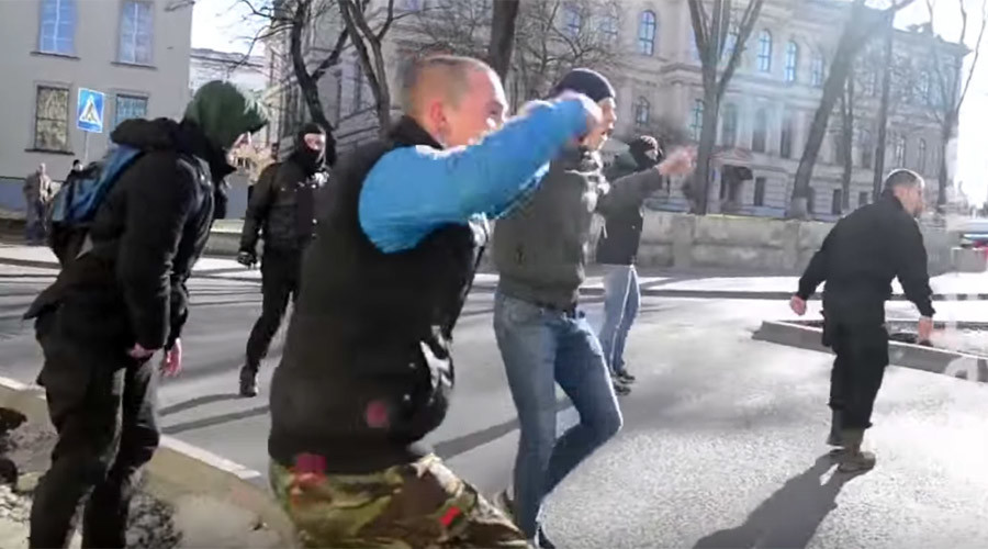 Ukrainian neo-Nazi mob raids LGBT event in Lvov, scares off riot police (VIDEO)