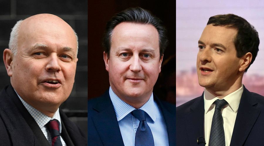 A combination photo shows a Britain's Secretary of State for Work and Pensions Iain Duncan Smith, Britain's Prime Minister David Cameron and Britain's Chancellor of the Exchequer George Osborne © Reuters