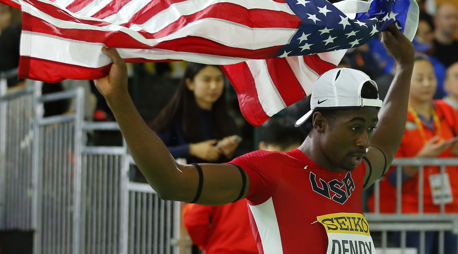 Marquis Dendy of the U.S. celebrates after winning the gold medal in the men's long jump during the IAAF World Indoor Athletics Championships in Portland, Oregon March 20, 2016. © Mike Blake