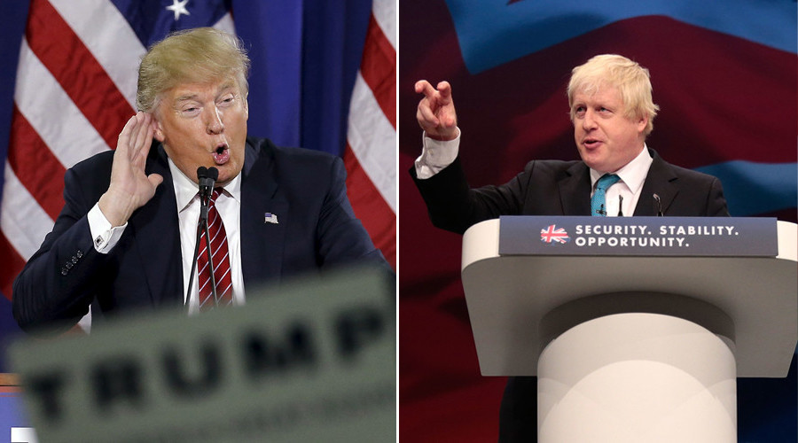 U.S. Republican presidential candidate Donald Trump (L) and London's Mayor Boris Johnson © Str