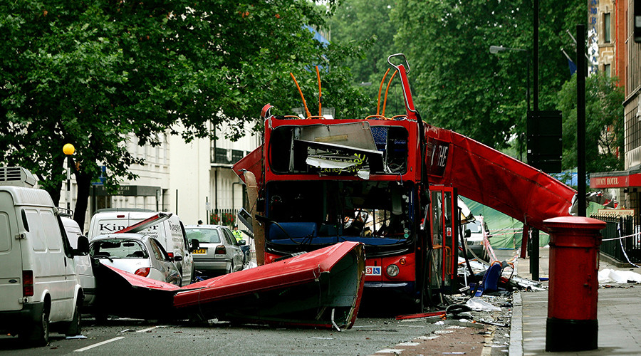 The bomb destroyed number 30 double-decker bus in Tavistock Square in central London July 8, 2005 © Stringer