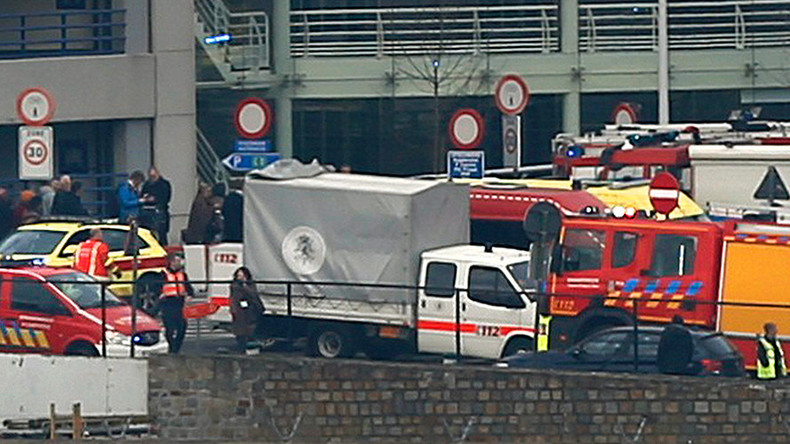 Emergency services at the scene of explosions at Zaventem airport near Brussels, Belgium, March 22, 2016 © Francois Lenoir