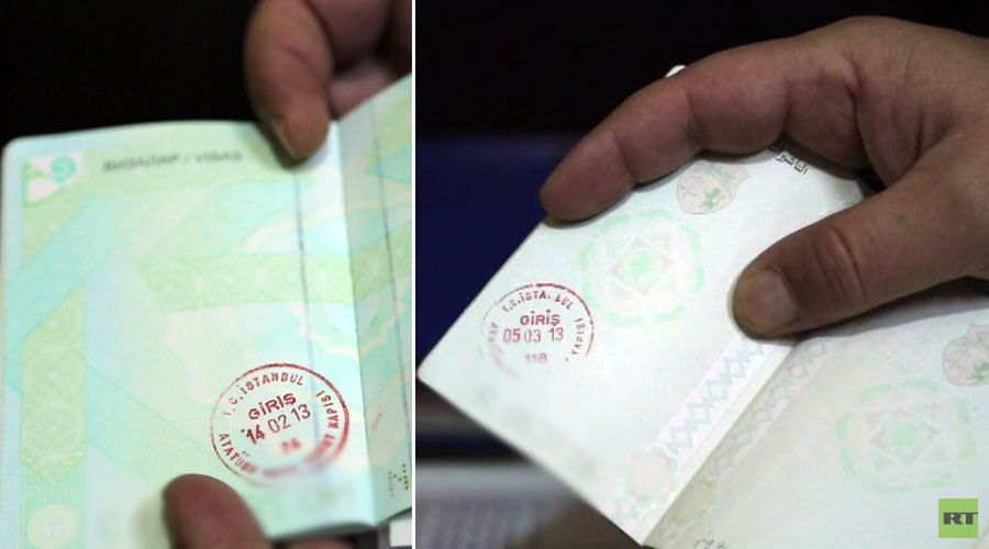 Passports belonging to Islamic State fighters bearing stamps from Istanbul, Turkey.