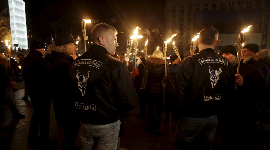 Members of the anti-immigrant group Soldiers of Odin Estonia © Ints Kalnins