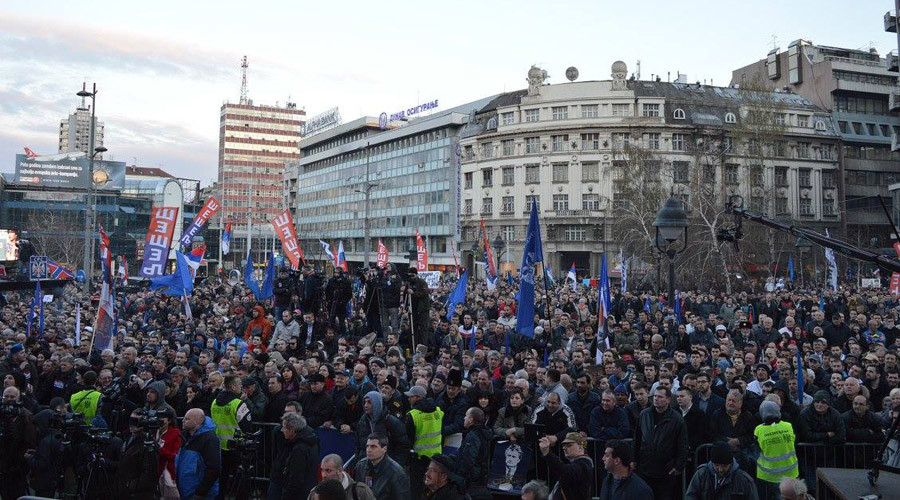 Serbian radicals protest in Belgrade against NATO, Karadzic's 40-yr sentence (PHOTOS, VIDEOS)