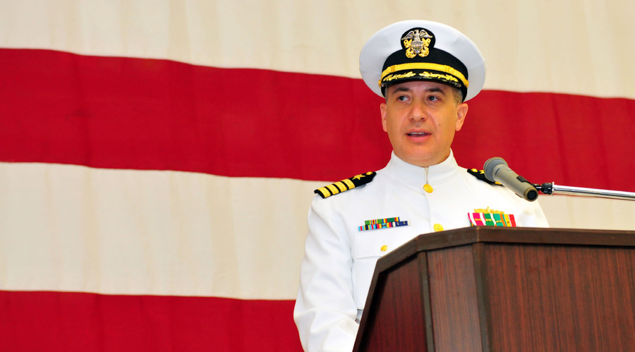 Capt. Daniel Dusek assumes command of USS Bonhomme Richard in this June 2012 file photo by US Navy Specialist 1st Class Terry Matlock. © US Navy