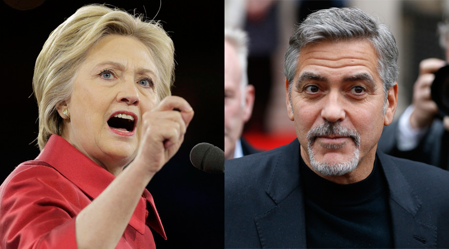 Democratic US presidential candidate Hillary Clinton and 'actor-vist' George Clooney © Reuters