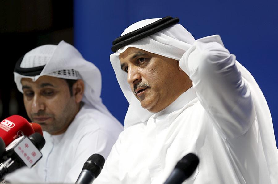 Flydubai Chief Executive Officer Ghaith Al Ghaith (R) talks next to Ismail Al Hosani of United Arab Emirates' General Civil Aviation Authority (GCAA) during a news conference about crashed Flight FZ981, Dubai March 19, 2016. ©Ahmed Jadallah