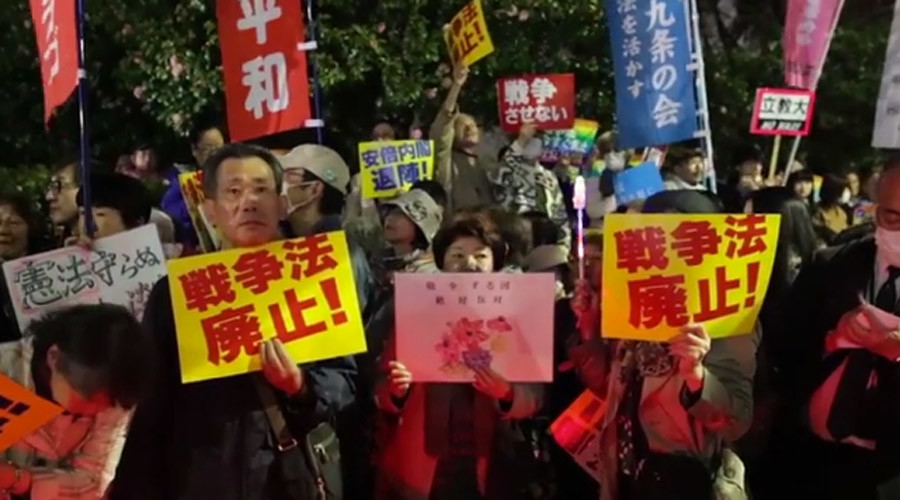 'We don't condone war': Protesters rally against law allowing Japan to defend allies abroad (VIDEO)