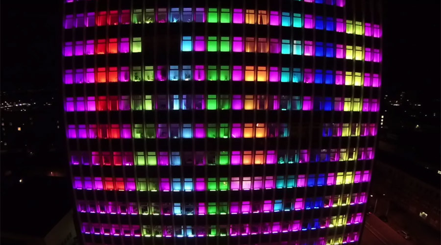 Giant LED Tetris game takes over college facade (VIDEO)