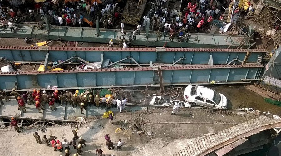 Sickening moment of lethal Kolkata bridge collapse caught on camera (VIDEO)
