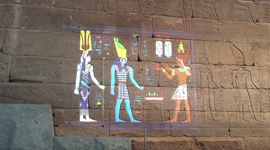 Egyptian hieroglyphics digitally restored to former psychedelic glory (VIDEOS)